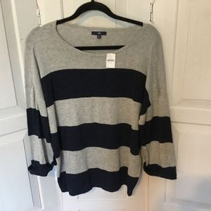 Gap Gray & White Oversized Striped Sweater